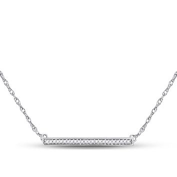 10k White Gold Round Diamond Horizontal Bar Pendant Necklace 1/10 Cttw