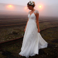 2016 White Beach Wedding Dresses V Neck Applique Capped Sleeve Backless Ruched Chiffon Custom Made Wedding Gowns Hot Selling