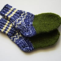 Hand Knitted Wool Socks for Children - Blue and Green