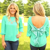 All A-Bow-t Me Top in Aqua