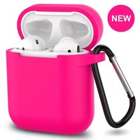 New AirPods Case, 360°Protective Silicone AirPods Accessories Kit Compatable with Apple AirPods 1st/2nd Charging Case [Not for Wireless Charging Case] - Hot Pink