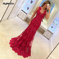 NP2 Robe de soiree Sexy V Neck Long Red Mermaid Prom Dresses 2017 New Arrival Lace Evening Dress Custom Made Vestido de festa