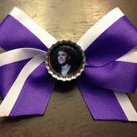 Purple & White Hair Bow with Justin Bieber Bottle by OhSoCr8tive