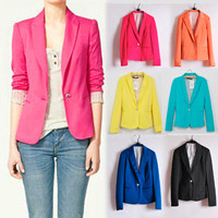 New Womens one-button Bright Color Blazer Top Jacket Outerwear Casual Suits 132