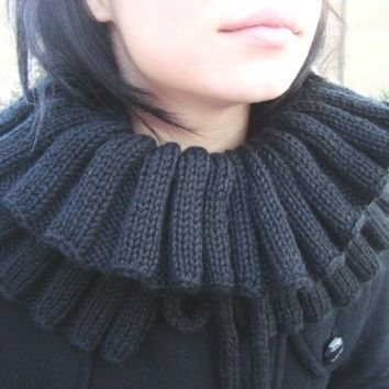 Hand Knitted Black Neck Warmer - Knitted Scarf  - Black Cowl - Adjustable Scarf - Black Scarf - Ruffled Scarf - Vegan Friendly