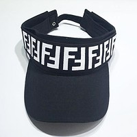 Fendi Fashion New More Letter Women Men Hollow Sunscreen Cap Hat Black