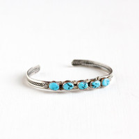 Vintage Sterling Silver Turquoise Cuff Bracelet - Retro 1960 Flower Studded Rope Blue Native American Style Southwestern Boho Tribal Jewelry