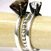 Stacking Ring Set in Silver, Moonbeam Stacking Rings with Smoky Quartz, White Topaz and a Bubble Ring