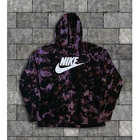 Custom Nike Reverse Tie Dye Hoodies in Black / Purple
