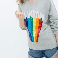 Embroidery Sequined Rainbow Sweater