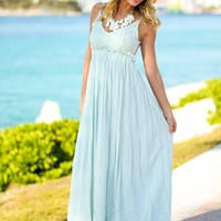 Seafoam Lace Maxi Dress with Open Back and Frayed Hem