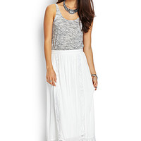 LOVE 21 Lace-Trimmed Maxi Skirt Cream