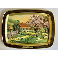 Vintage SPRING Tole Tray Cherry Blossoms Grazing Sheep American FarmHouse