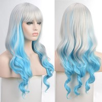 Fairy Lady Silver Blue Cosplay Gradient Wig Long Wavy Curly Ombre Costume Hair