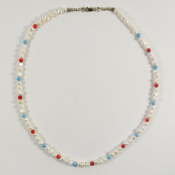 White Pearl, Coral, & Turquoise Short Necklace