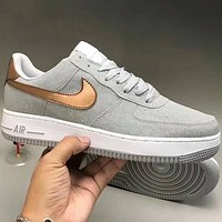 Nike & LV  super soft leather surface splicing Air Force sports shoes F-CQ-YDX Grey+gold hook