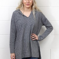Long Sleeve Marled Knit Hoodie Tunic {Grey} EXTENDED SIZES