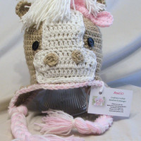 Crochet Horse Hat. Pink. Animal Hat.