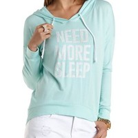 Jeweled Need More Sleep Graphic Hoodie by Charlotte Russe