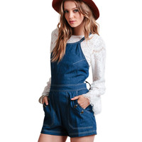 Blue Strappy Denim Romper