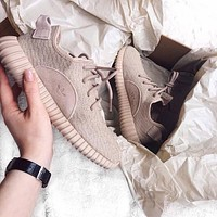 """Fashion """"Adidas"""" Yeezy Boost Solid color Leisure Sports shoes Khaki"""