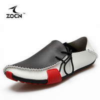 ZOCN Men Loafers Genuine Leather Casual Shoes Fashion Flats Shoes Men Flats Oxford Shoes For Men Moccasin Driving Loafers 38-47