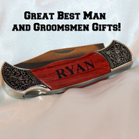 Groomsmen pocket knife,  best man gift,  groomsmen gift,  groom gift,  rosewood handle hunting knife