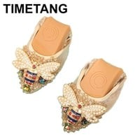 TIMETANG Plus Size Designer Crystal Woman Flat Shoes Elegant Comfortable Lady Fashion Rhinestone Women Soft Bees Shoes C289