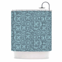"Maike Thoma ""Layered Circles Design"" Blue Floral Shower Curtain"