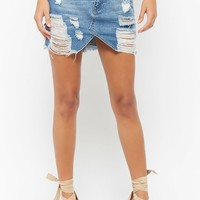 Frayed Distressed Denim Skirt