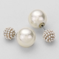 Double Sided Cluster Pearl Earrings