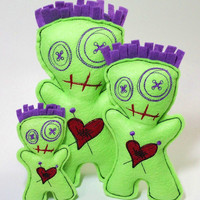 Embroidered Zombie/Voodoo Family Dolls/Pincushions