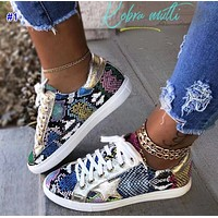 Fashionable snake-print shoes for women flat shoes for sport shoes for women small white shoes