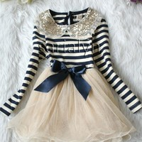 Stripe Blue Dress for Toddler Girls Ages 2T to 6T-Navy Blue Dress Girl