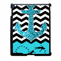 Peter Pan Mint Glitter Anchor Black Chevron iPad 4 Case