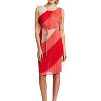 BCBGMAXAZRIA Women's Hailey V Neck Pleated Ties Dress