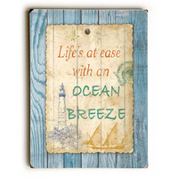 Beach Notes by Artist Jean Plout Wood Sign