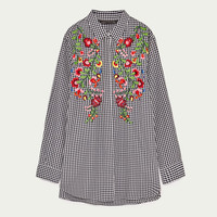 EMBROIDERED GINGHAM SHIRT DETAILS