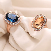 Women's Fashion Korean 9K Rose Gold Plated Crystal Alloy Party wedding Ring cute jewelry = 1945948548