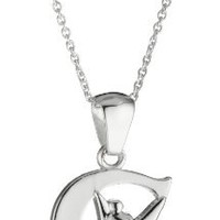 """Disney """"Tinkerbell"""" C Initial Silver Pendant Necklace, 18"""""""