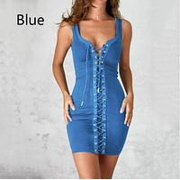 Fashion new solid color strap sexy sleeveless strap dress Blue