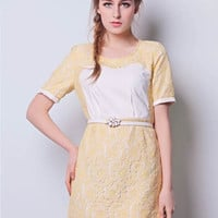 White and Yellow Floral Lace Dress
