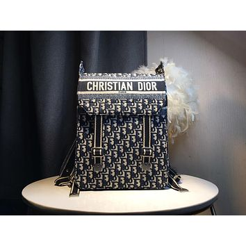 HCXX July 252 Christian Dior Business Travel Casual Fashion Carving Backpack black white 40-27.5-12