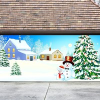 Christmas Garage Door Cover Banners 3d Snowman Christmas Tree Holiday Outside Decorations Outdoor Decor for Garage Door G25