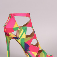 Liliana Geometric Cutout Peep Toe Stiletto Heel