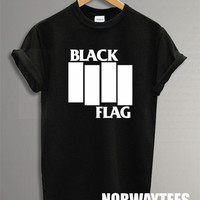 Black Flag Shirt  Printed on Black and White t-Shirt For Men Or Women Size X 01