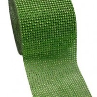 "Apple Green Diamond Rhinestone Mesh Ribbon, Wedding Ribbon, Diaper Cake Ribbon, 4.75"" x 10 Yards, 24 Row, 1 Roll"