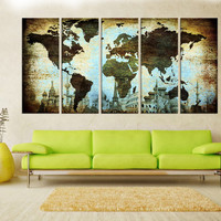 large canvas art, pastel colors world Map art print, Large world map wall art canvas, fine art print Living room and decor, 8s51