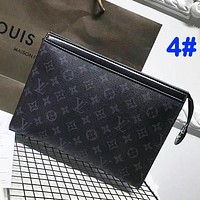 Louis Vuitton Fashion Casual Woman Men Envelope Clutch Bag Leather File Bag Tote Handbag G