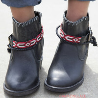 Bonnaroo Babe Black Free Festival Boots With Ankle Wraps